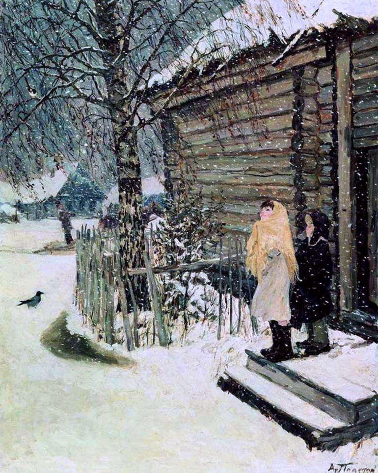 Первый снег, Аркадий Пластов, 1946 год, Тверская областная картинная галерея