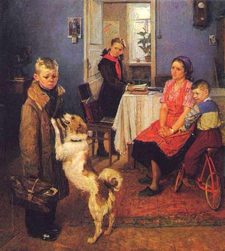 Опять двойка, Фёдор Решетников, 1952 год, Третьяковка