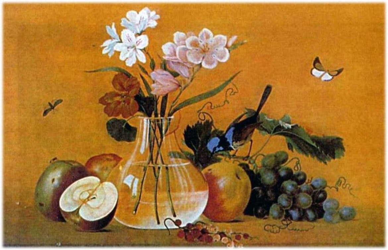 картина цветы фрукты птица толстого описание
