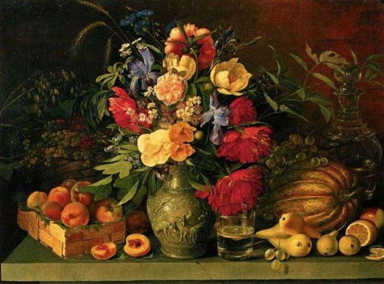Цветы и плоды, Иван Хруцкий, 1836 год, Третьяковка