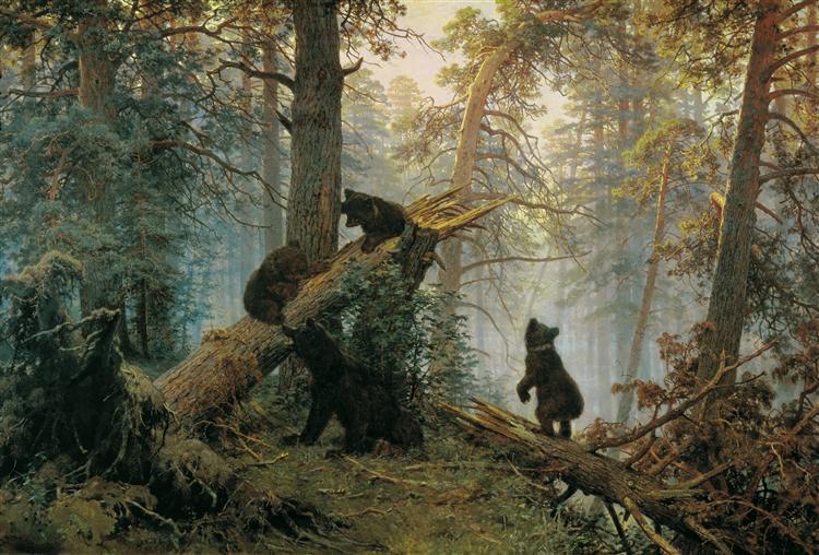 Утро в сосновом лесу, Иван Шишкин, холст, масло, 1889 год, пейзаж, Третьяковка