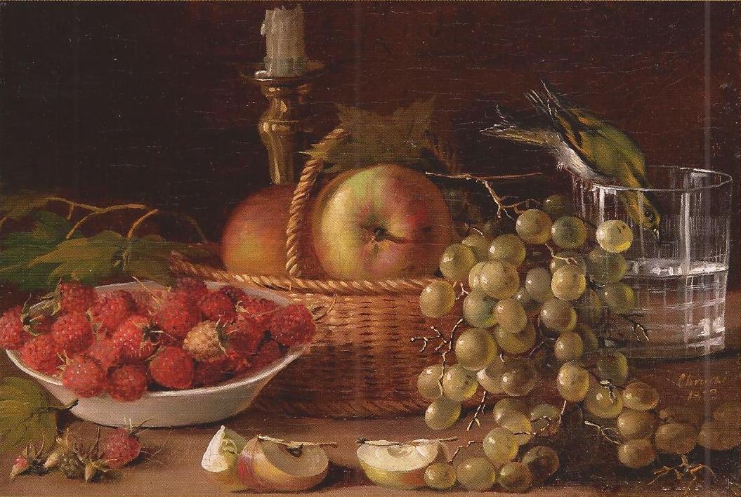 Иван Хруцкий, 1833 год, картина «Плоды и птичка».