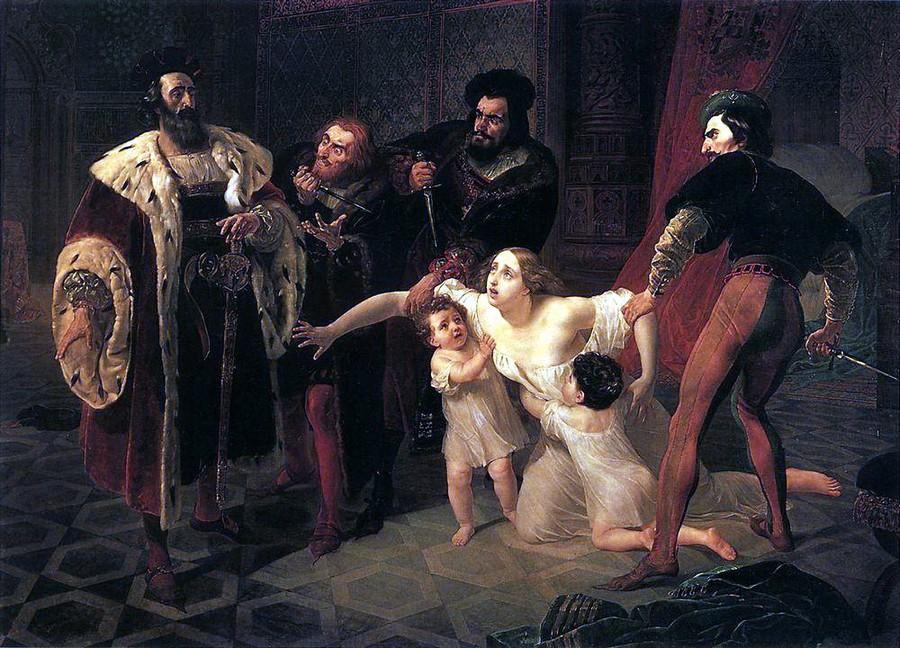 Карл Брюллов, 1834 год, картина «Казнь Инессы де Кастро».