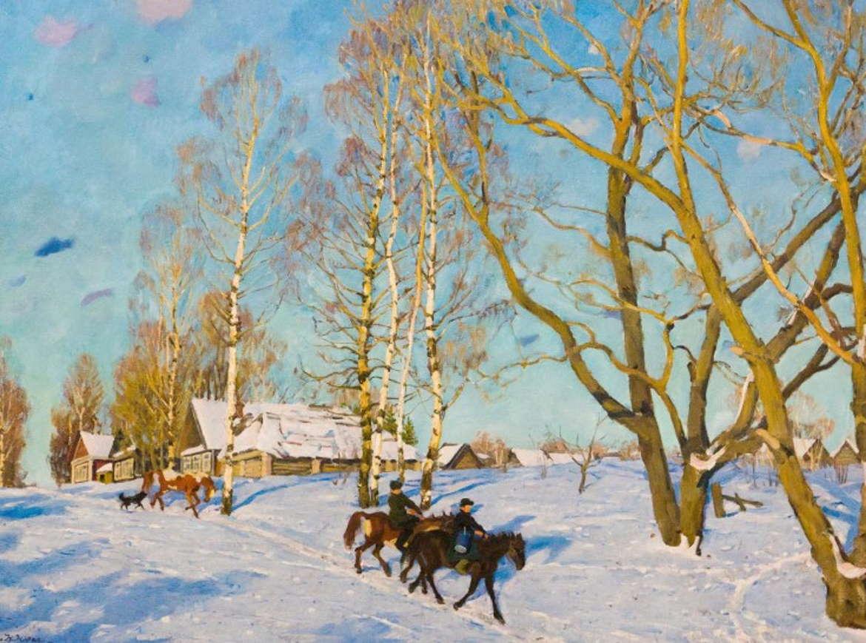 Мартовское солнце, Константин Юон, 1915 год, .третьяковка