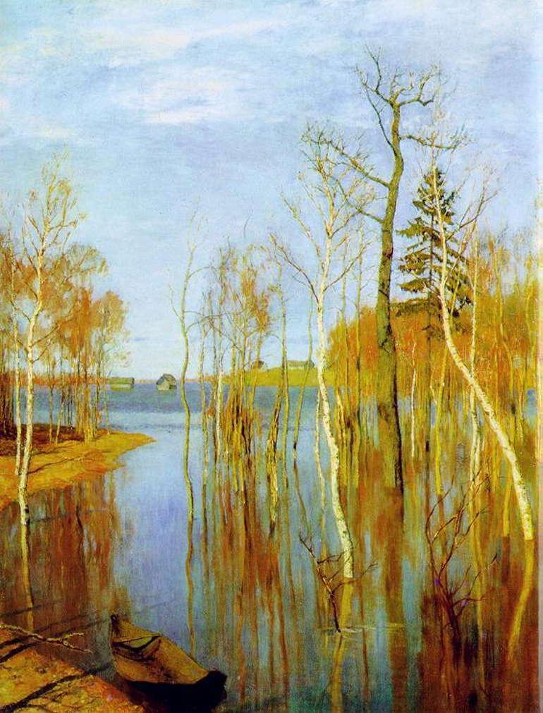 Весна. Большая вода. Исаак Левитан, 1897 год, Третьяковка