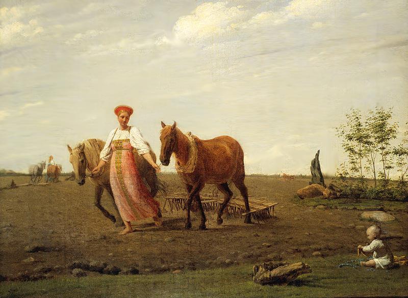 Алексей Венецианов, первая половина 1820-х годов, картина «На пашне. Весна».