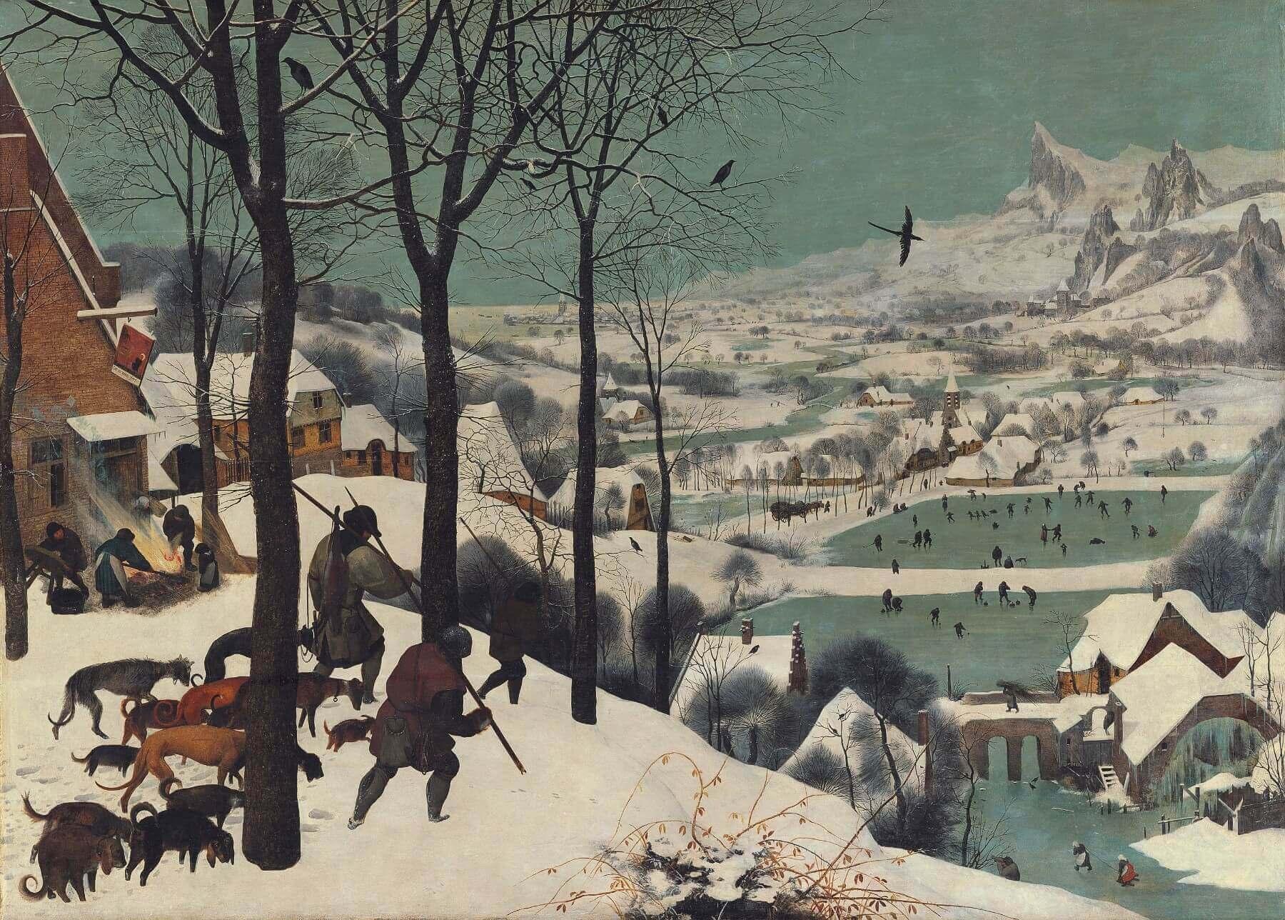 Питер Брейгель, 1565 год, картина «Охотники на снегу».