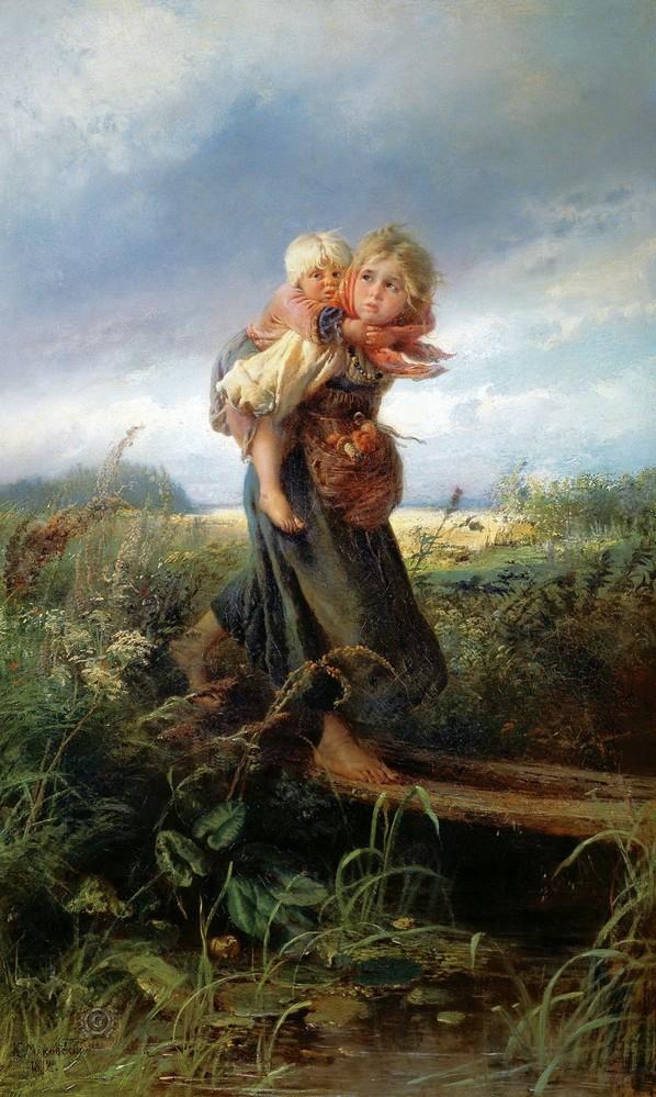 Константин Маковский, 1872 год, картина «Дети, бегущие от грозы».