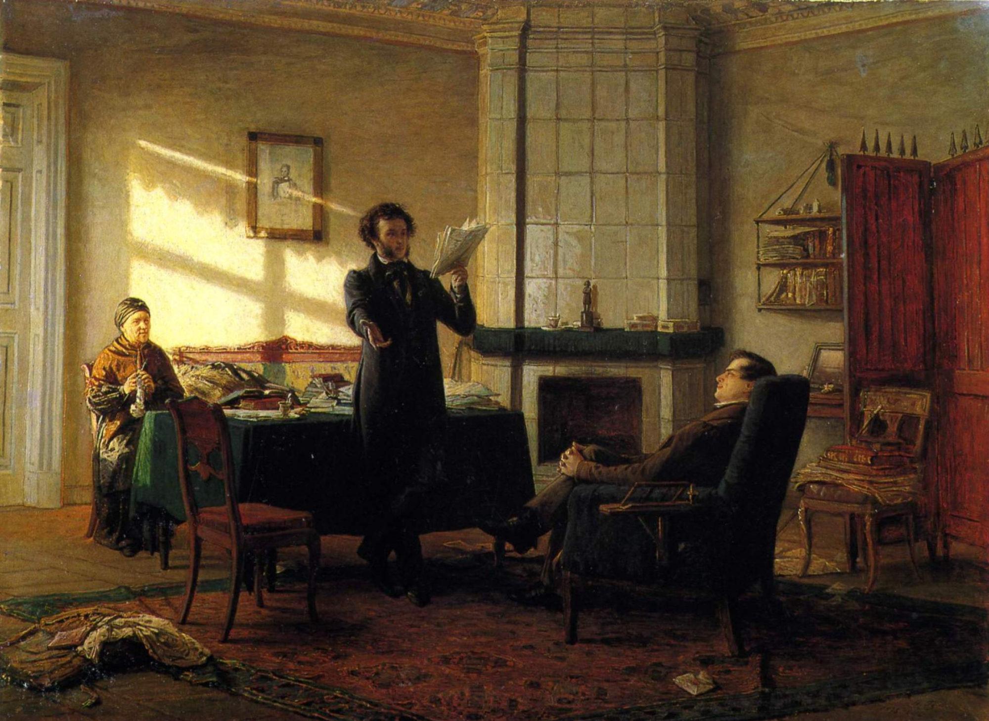 Николай Ге, 1875 год, картина «Пушкин в селе Михайловском».