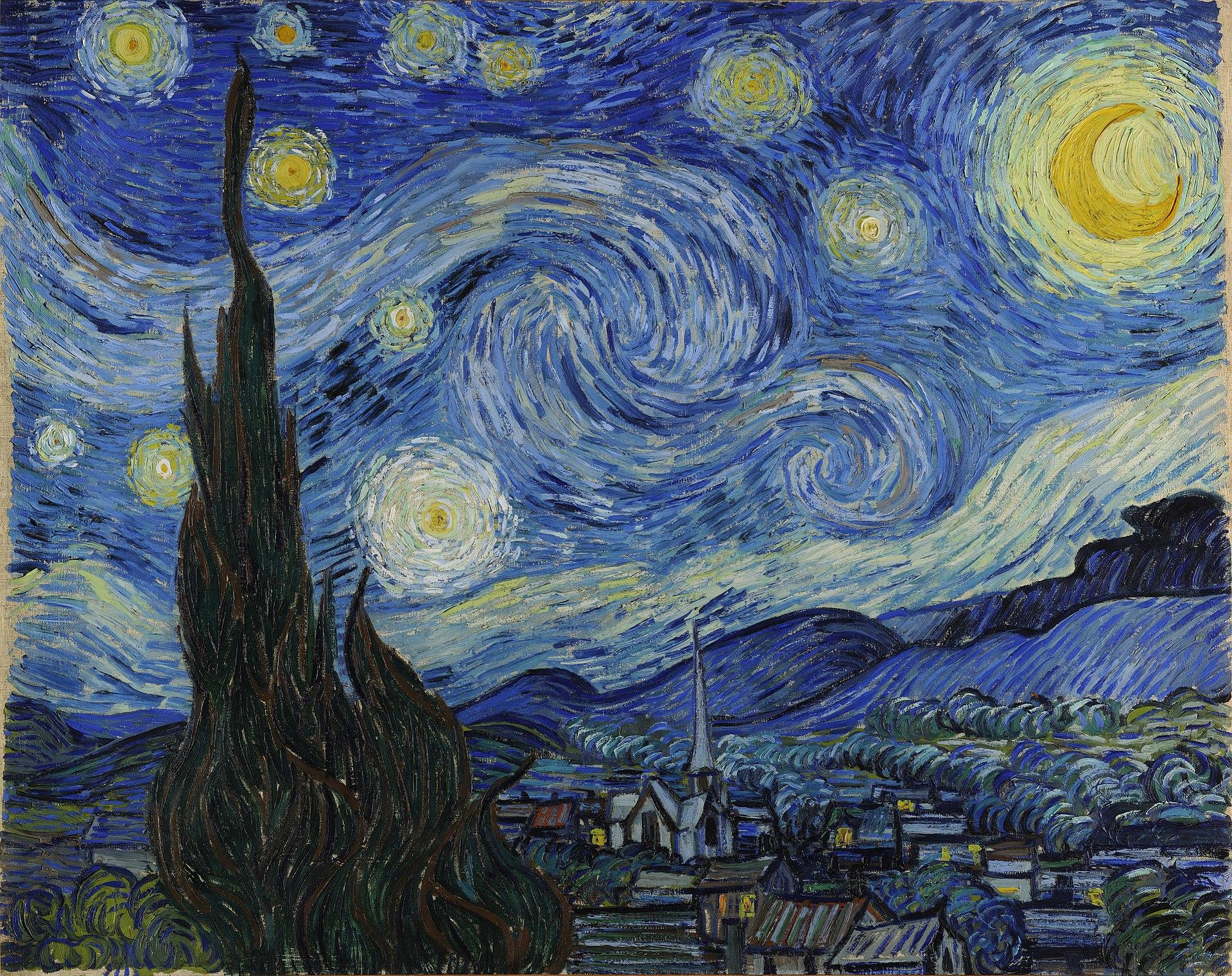 Винсент Ван Гог, 1889 год, картина «Звездная ночь».
