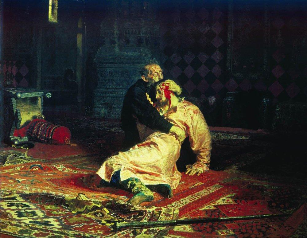 Илья Репин, 1883-1885 годы, картина «Иван Грозныйи сын егоИван16 ноября 1581 года».