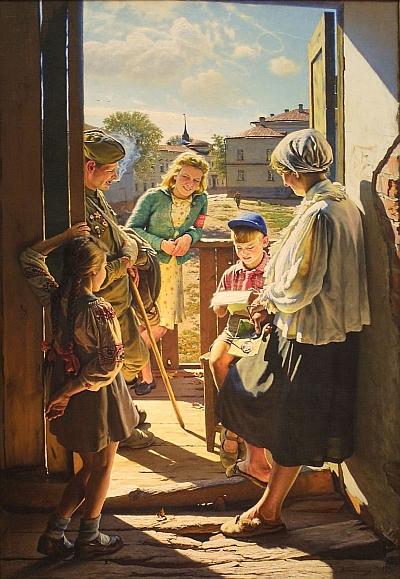 Александр Лактионов, 1947 год, картина «Письмо с фронта».