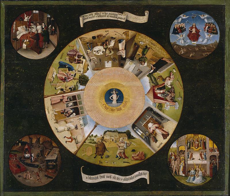 Иероним Босх, XV век, картина «Семь смертных грехов и четыре последние вещи»