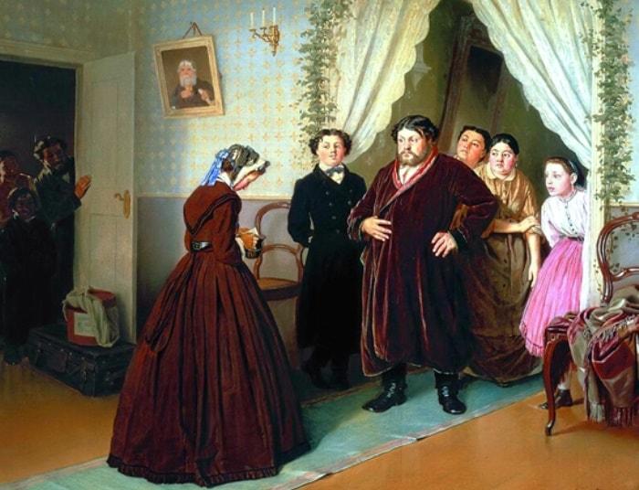 """Василий Перов, 1866 год, картина """"Приезд гувернантки в купеческий дом"""""""