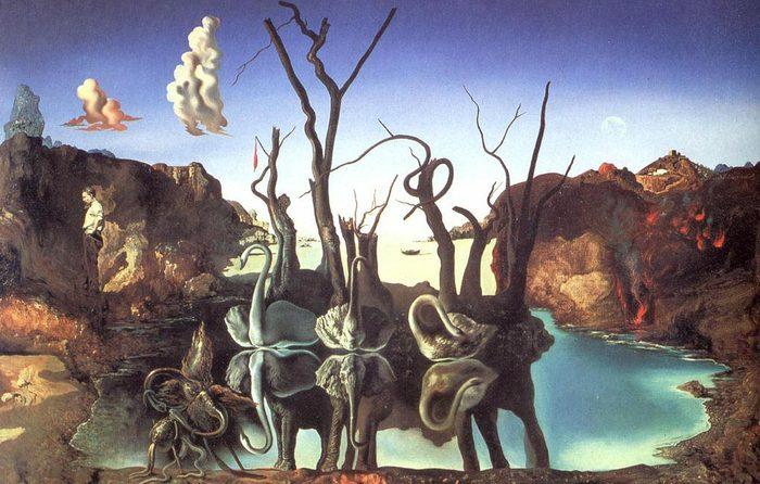 """Описание картины Сальвадора Дали """"Лебеди, отраженные в слонах"""""""