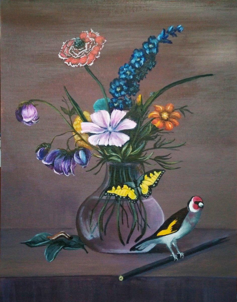 """Описание картины Федора Толстого """"Букет цветов, бабочка и птичка"""""""