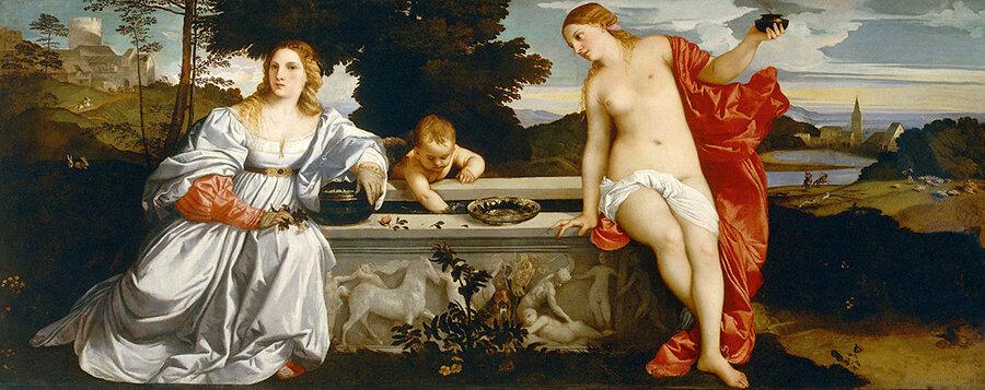 Любовь небесная и Любовь земная. Вечеллио Тициан. 1514 год. Галерея Боргезе, Рим.