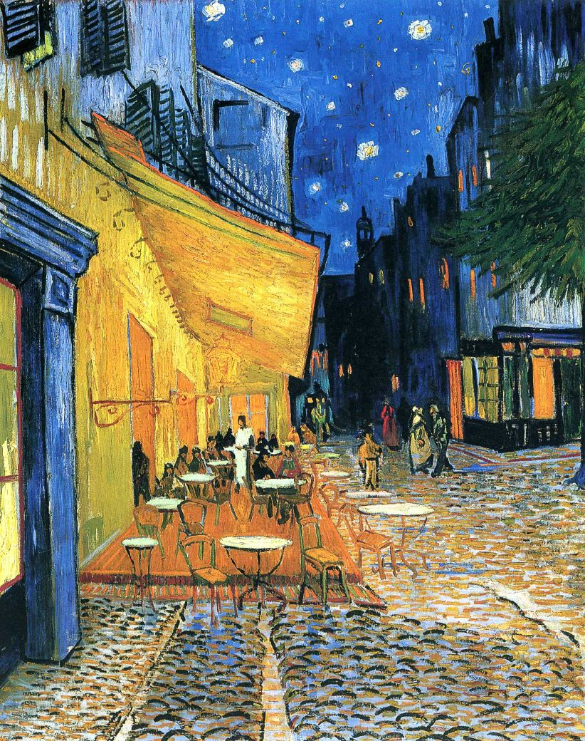 Винсент Ван Гог, 1888 год, картина «Ночная терраса кафе».