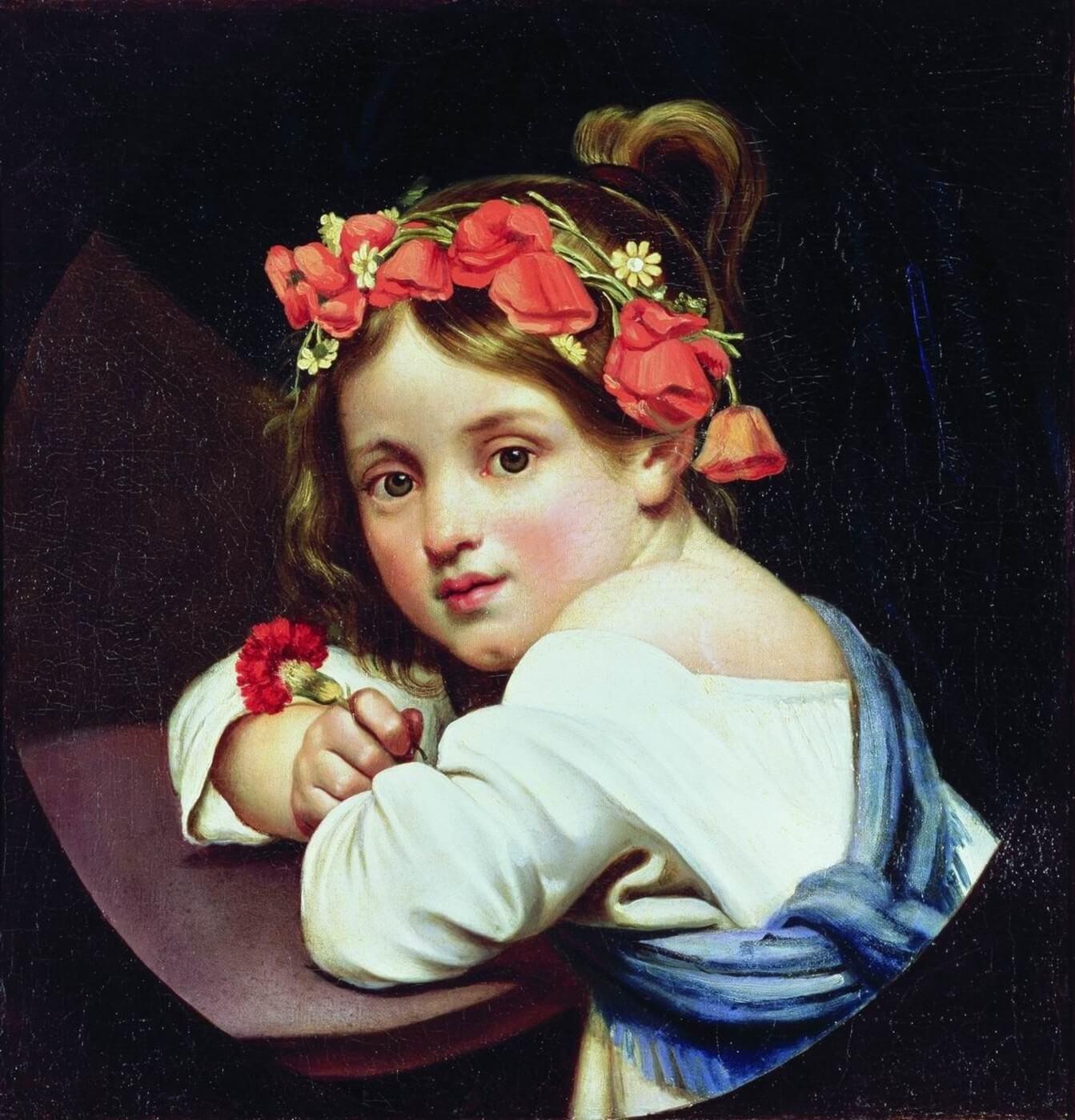 """Описание картины """"Девочка в маковом венке с гвоздикой в руке"""" Ореста Кипренского"""