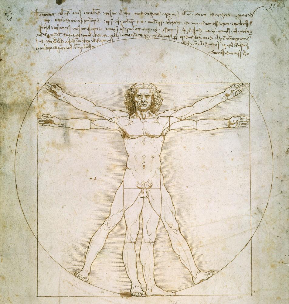 Леонардо да Винчи, 1490 год, картина «Витрувианский человек».