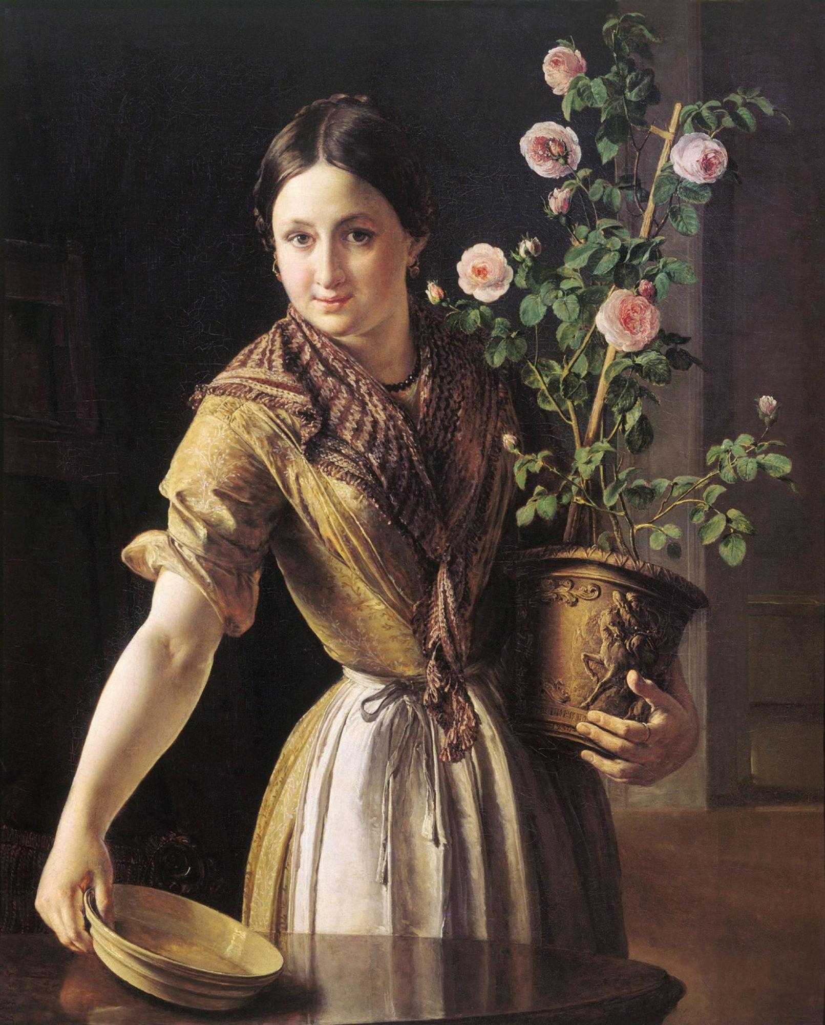 Василий Тропинин, 1850 год, картина «Девушка с горшком роз».