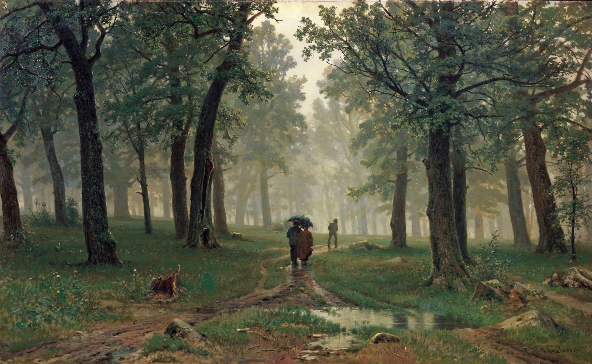 Иван Шишкин, 1891 год, картина «Дождь в дубовом лесу».