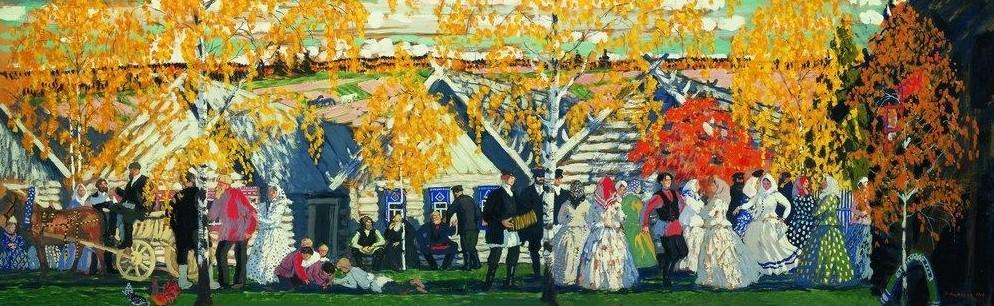 Борис Кустодиев, 1910 год, картина «Деревенский праздник».