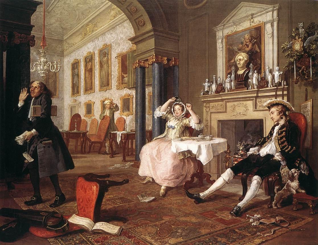 Уильям Хогарт, 1743—1745 годы, картина «Вскоре после свадьбы» из цикла «Модный брак»