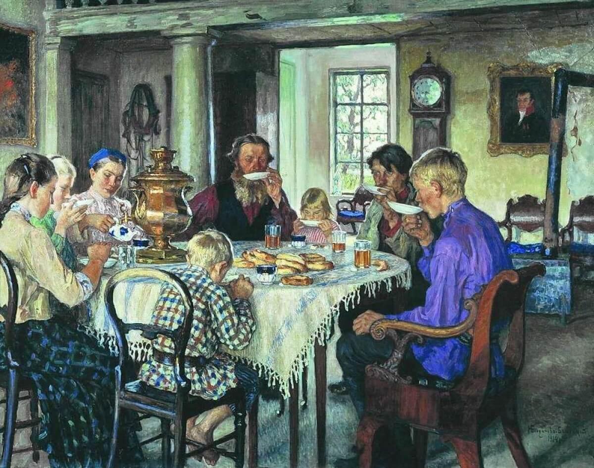 Николай Богданов-Бельский, 1913 год, картина «Новые хозяева. Чаепитие».
