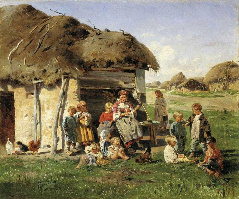 Крестьянские дети, Владимир Маковский, 1890 год, Харьковский художественный музей