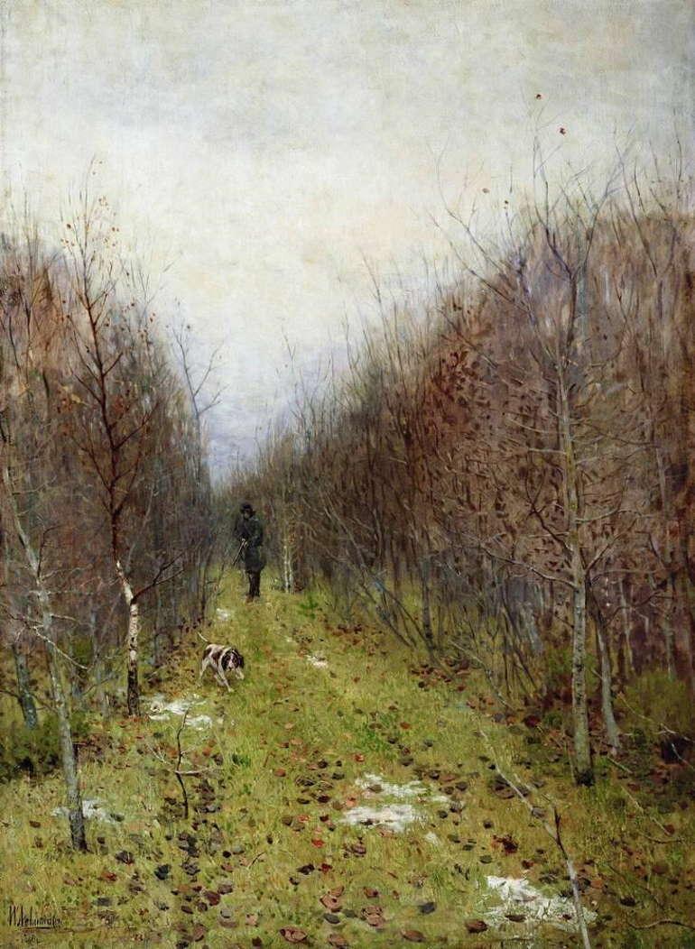 Осень. Охотник. Исаак Левитан, 1880 год, Тверская областная картинная галерея.