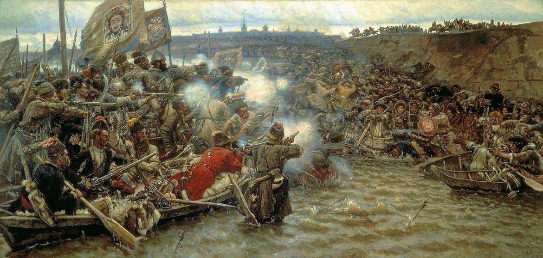 Покорение Сибири Ермаком Тимофеевичем. Василий Суриков, 1895, Русский музей.