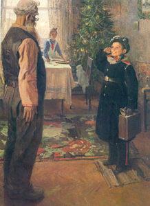 Описание картины Фёдора Решетникова «Прибыл на каникулы»