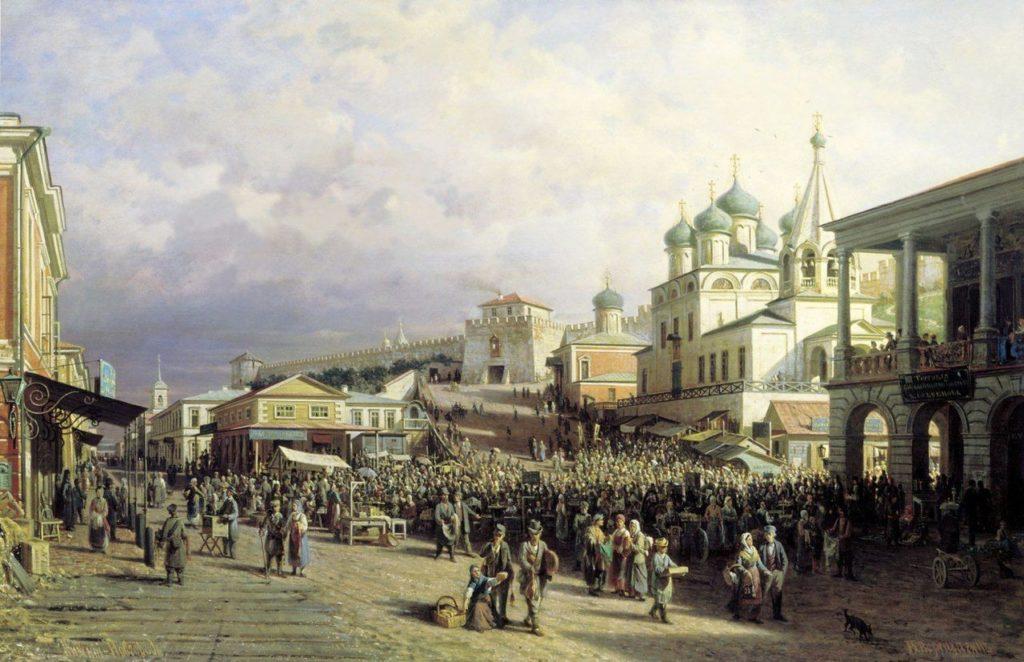 """Петр Верещагин, """"Рынок в Нижнем Новгороде"""", 1867 и 1872 гг., фото: bigartshop.ru"""