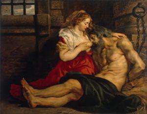 Описание картины Питера Пуля Рубенса «Отцелюбие римлянки»