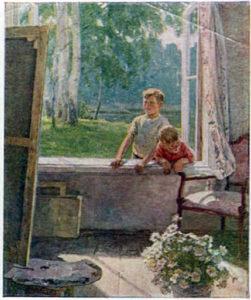 Описание картины Е. В. Сыромятниковой «Первые зрители»