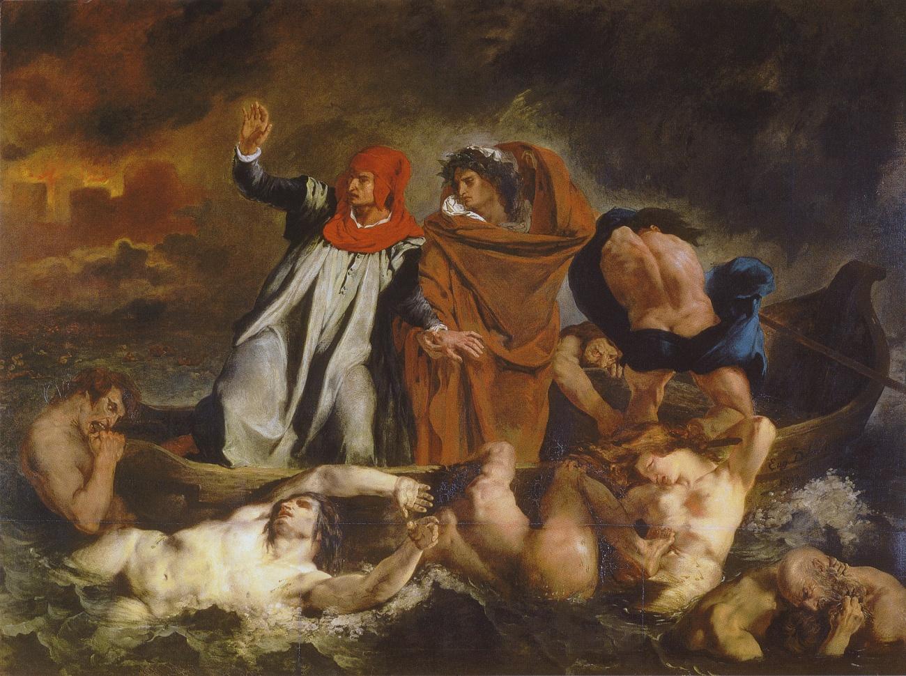 Эжен Делакруа, 1822 год, картина «Ладья Данте».