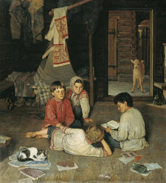 Николай Богданов-Бельский, 1891 год, картина «Новая сказка».
