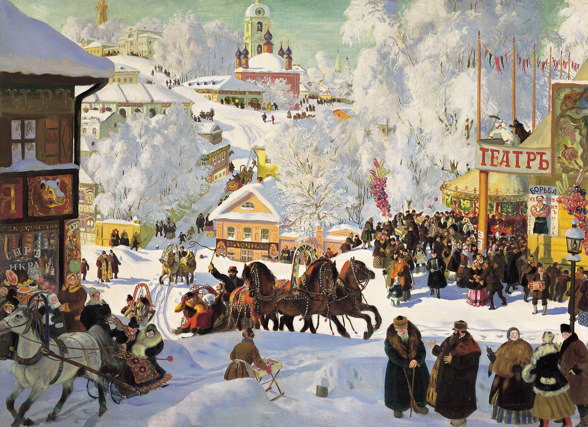 Борис Кустодиев, 1919 год, картина «Масленица»
