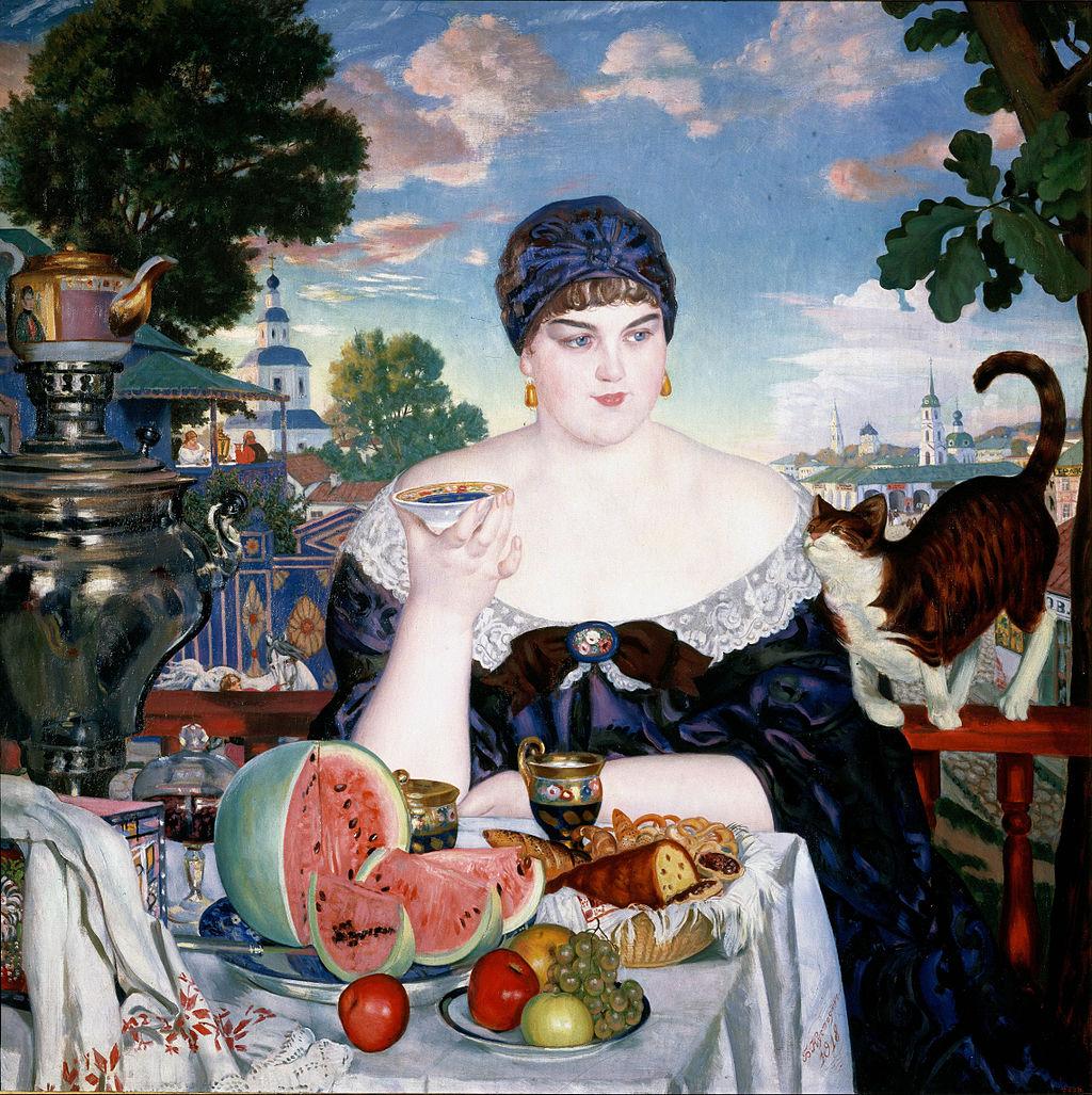 Борис Кустодиев, 1918 год, картина «Купчиха за чаем»