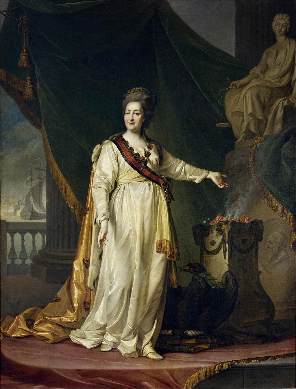 Дмитрий Левицкий, 1783 год, картина «Екатерина II — законодательница в храме богини Правосудия».