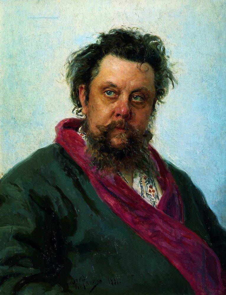 Илья Репин, 1881 годы, картина «Портрет Мусоргского».