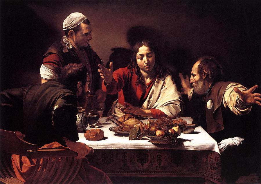 Микеланджело Караваджо, 1601 год, картина «Ужин в Эммаусе».