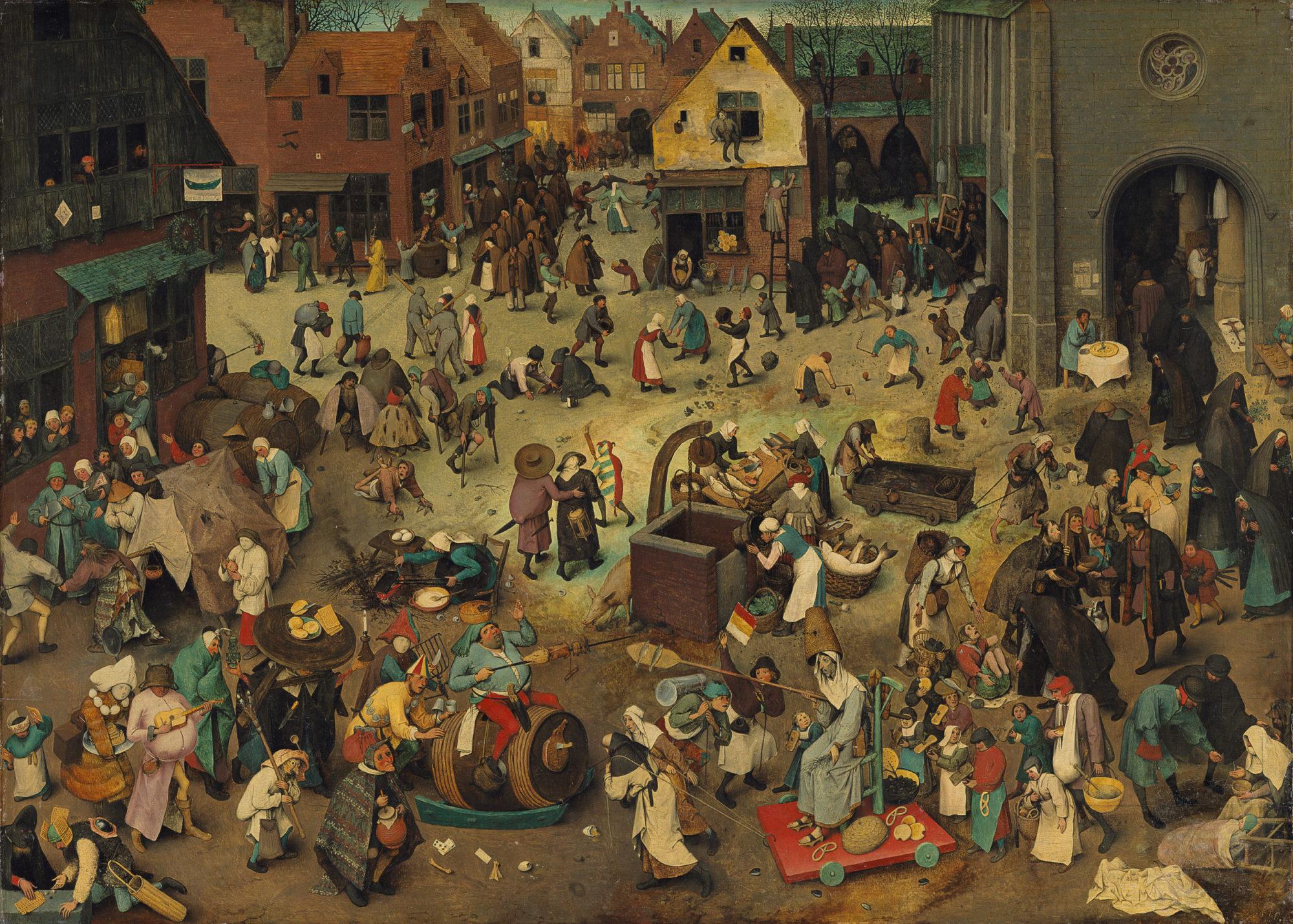 Битва Масленницы и Поста, Питер Брейгель старший, 1559 год, Музей истории искусств, Вена