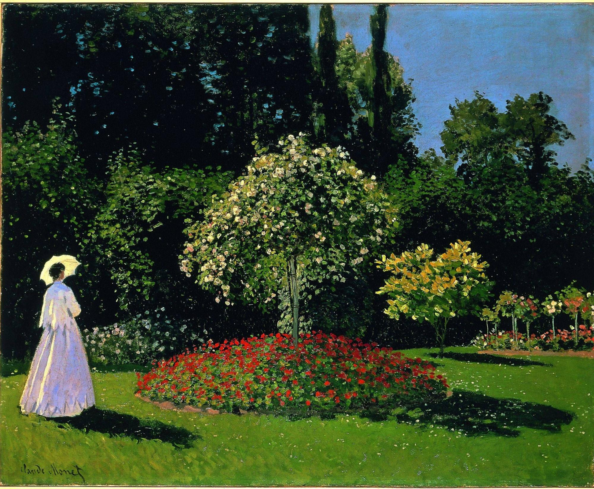 Клод Моне, 1867 год, картина «Дама в саду Сент-Адресс».