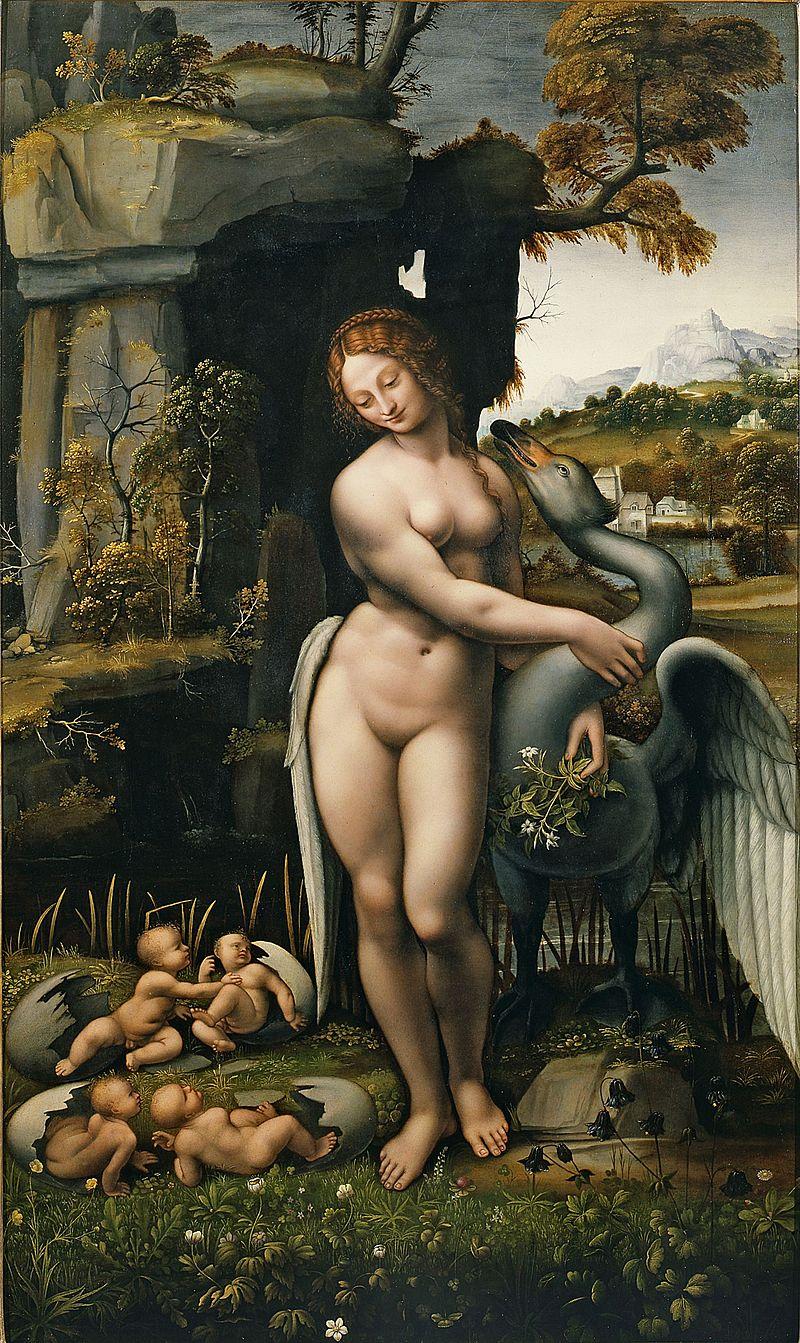 Леонардо да Винчи, Франческо Мельци, 1508-1515 годы, копия картины «Леда и лебедь».