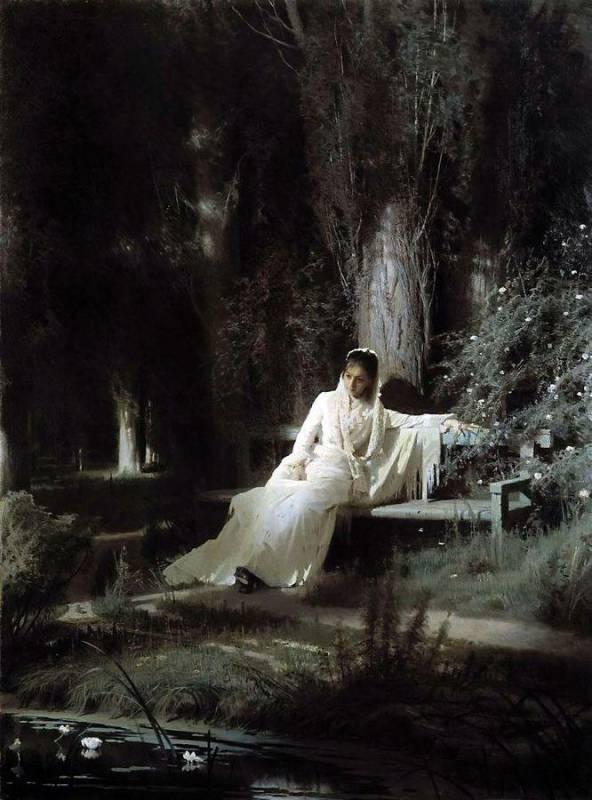 Иван Крамской, 1880 год, картина «Лунная ночь».