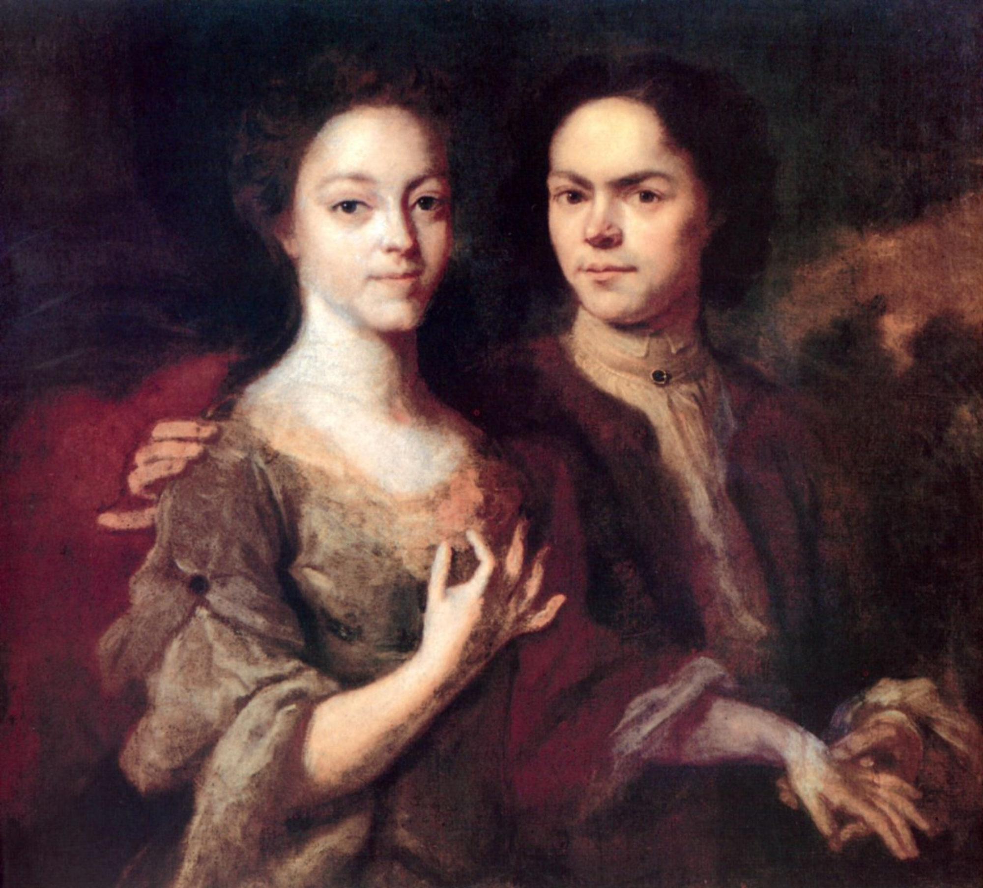 Андрей Матвеев, 1729 год, картина «Автопортрет с женой».