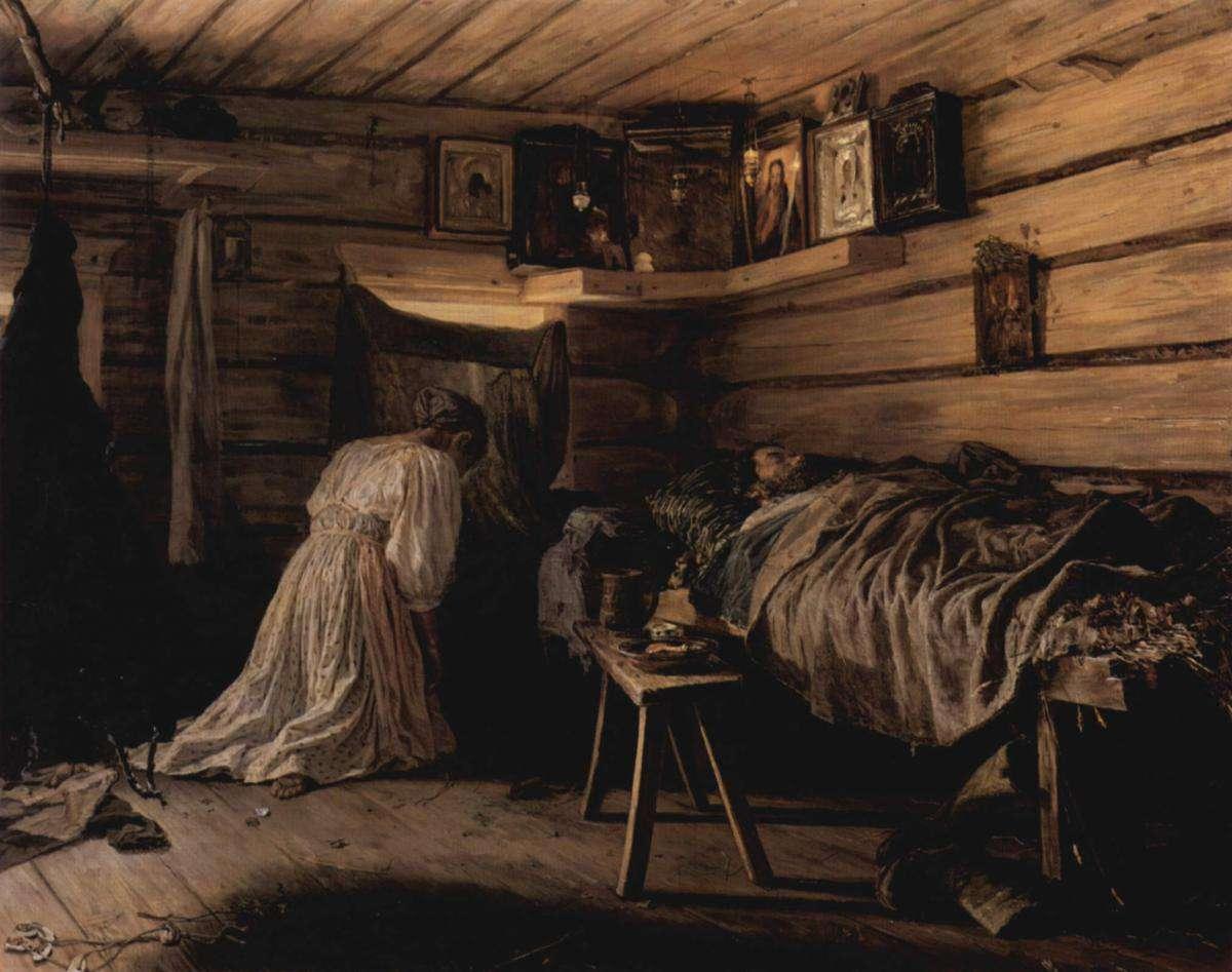 Больной муж, Василий Максимов, 1881 год, Третьяковка.