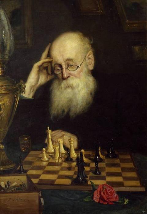 Григорий Мясоедов, 1907 год, картина «Сам с собой или игра в шахматы».